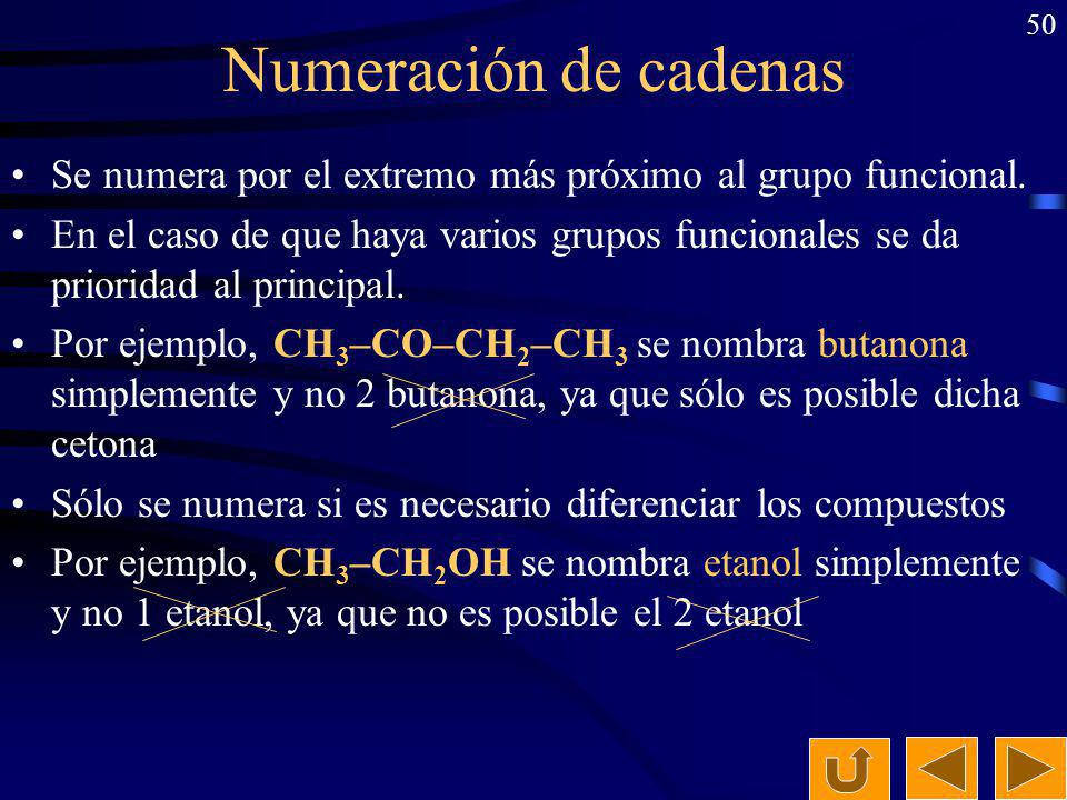 Numeración de cadenas Se numera por el extremo más próximo al grupo funcional.