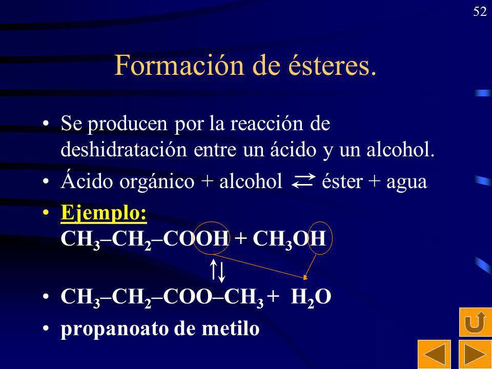 Formación de ésteres. Se producen por la reacción de deshidratación entre un ácido y un alcohol. Ácido orgánico + alcohol éster + agua.