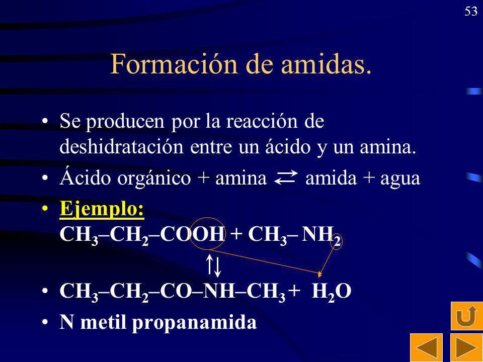 Formación de amidas. Se producen por la reacción de deshidratación entre un ácido y un amina. Ácido orgánico + amina amida + agua.