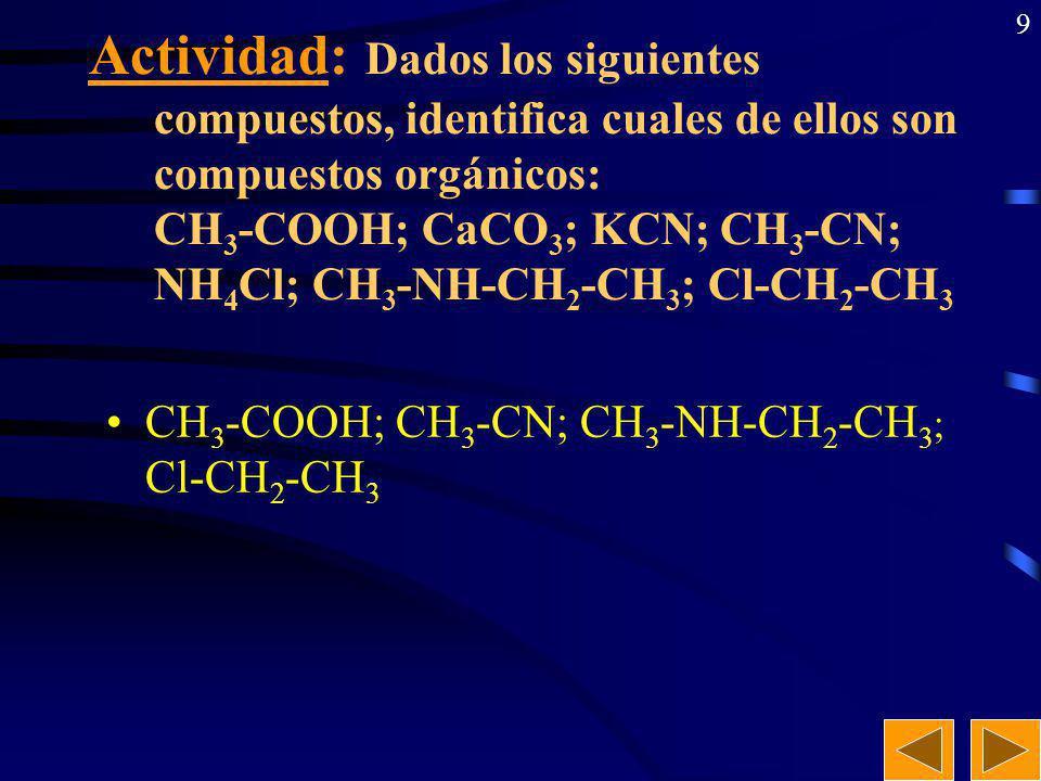 Actividad: Dados los siguientes compuestos, identifica cuales de ellos son compuestos orgánicos: CH3-COOH; CaCO3; KCN; CH3-CN; NH4Cl; CH3-NH-CH2-CH3; Cl-CH2-CH3