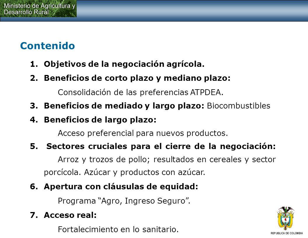 1. Objetivos de la negociación agrícola: