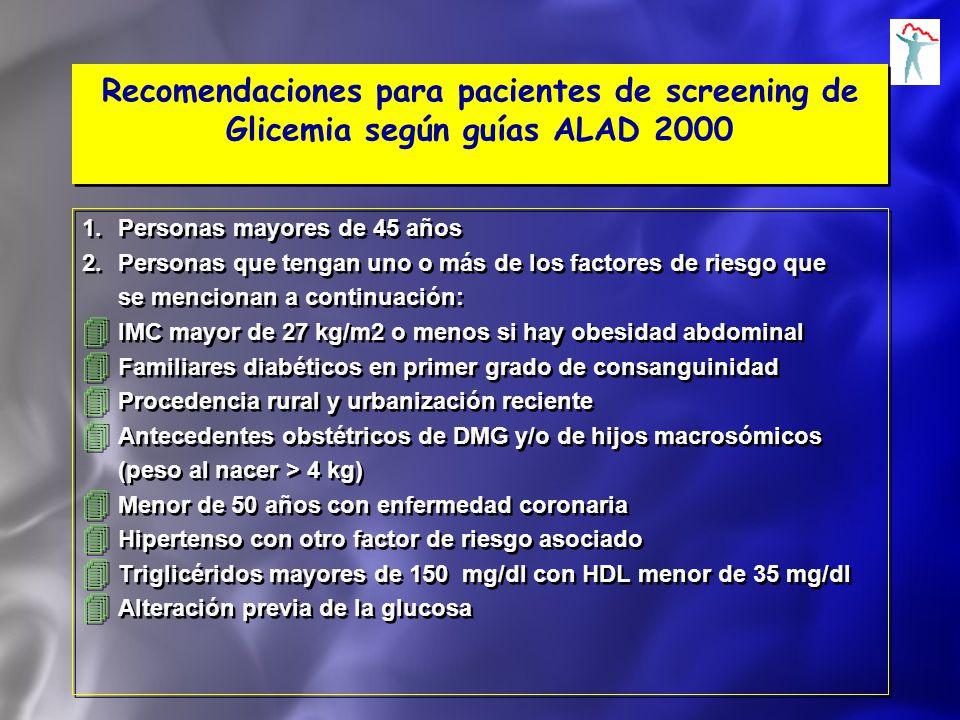 Recomendaciones para pacientes de screening de Glicemia según guías ALAD 2000