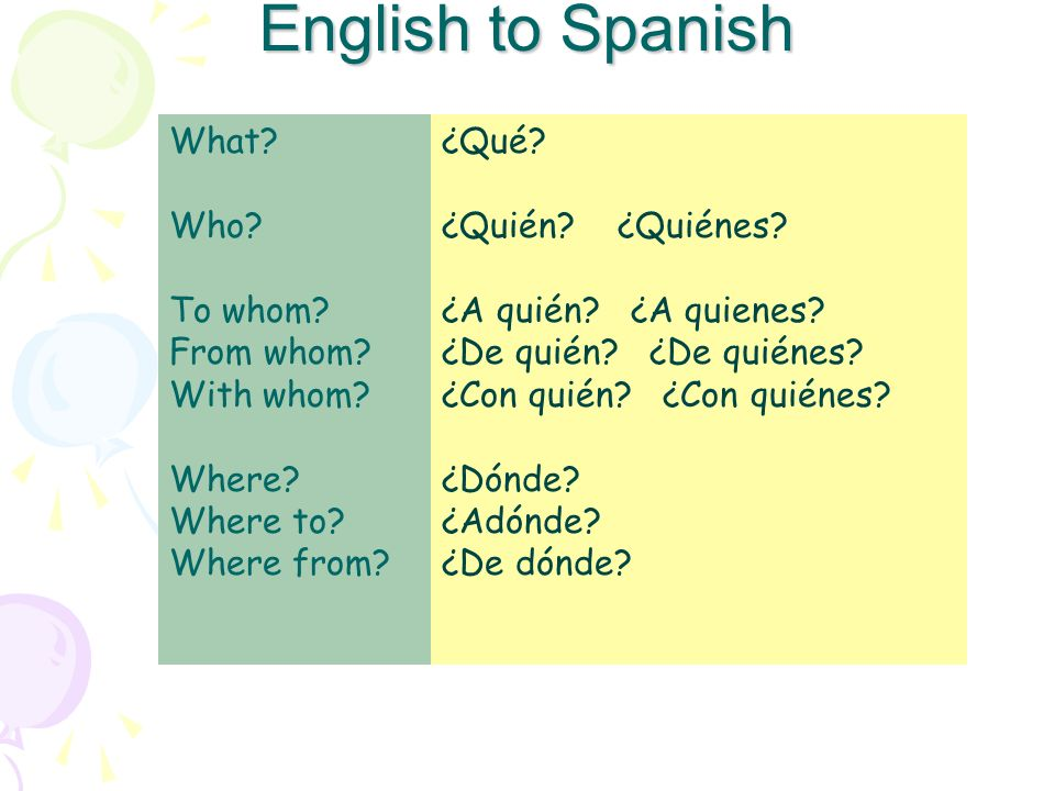 English to Spanish What Who To whom From whom With whom Where