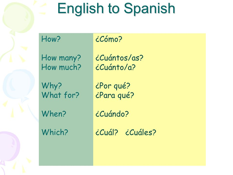 English to Spanish How How many How much Why What for When