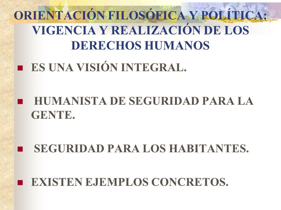 ORIENTACIÓN FILOSÓFICA Y POLÍTICA: VIGENCIA Y REALIZACIÓN DE LOS DERECHOS HUMANOS