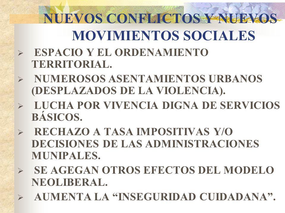 NUEVOS CONFLICTOS Y NUEVOS MOVIMIENTOS SOCIALES