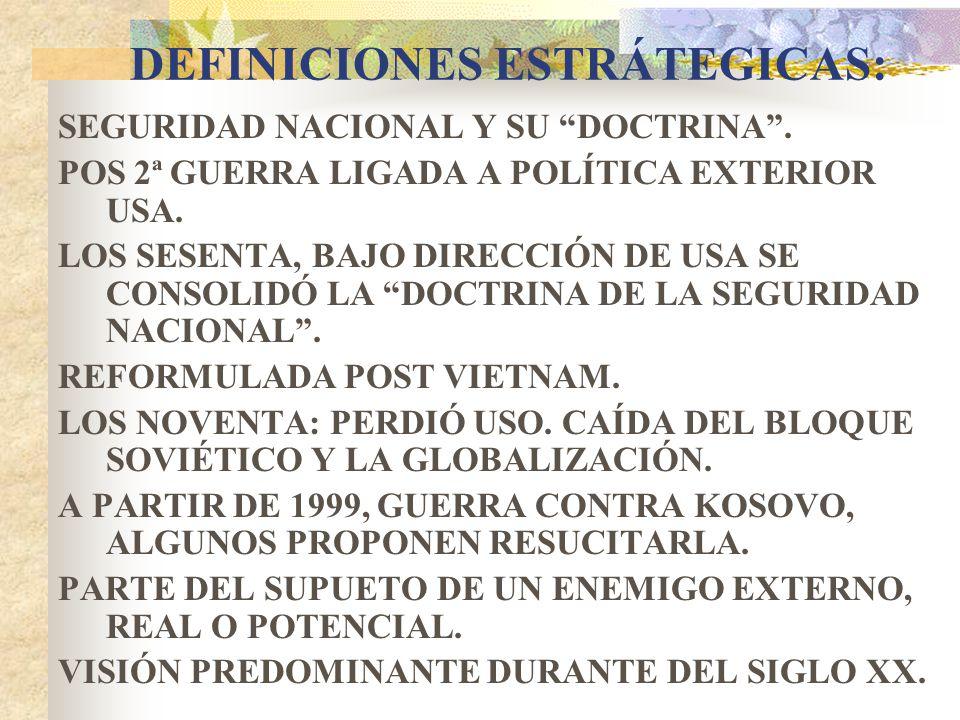 DEFINICIONES ESTRÁTEGICAS: