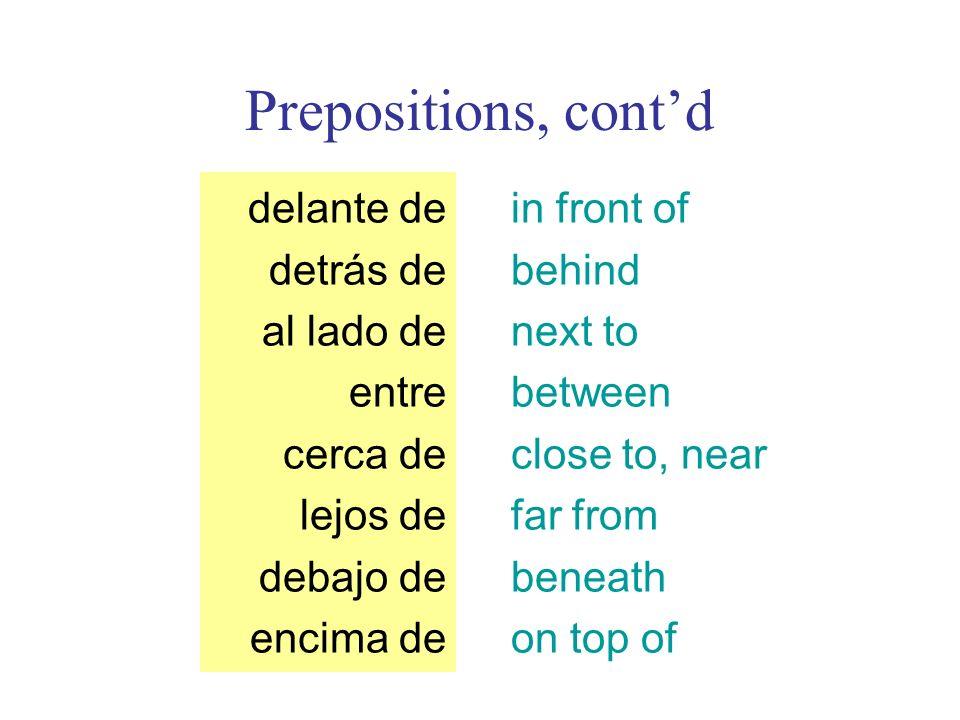 Prepositions, cont'd delante de detrás de al lado de entre cerca de