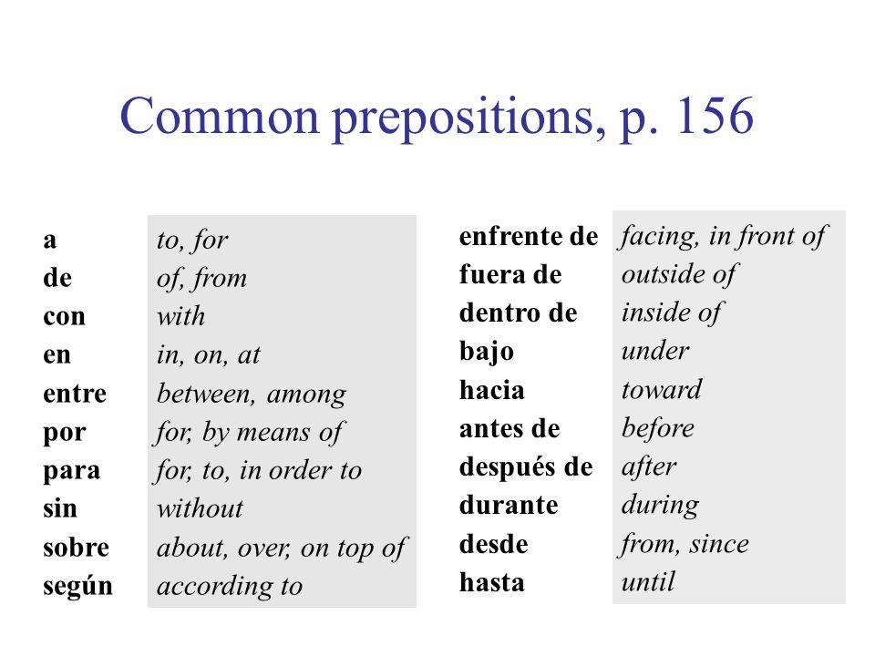 Common prepositions, p. 156 a de con en entre por para sin sobre según