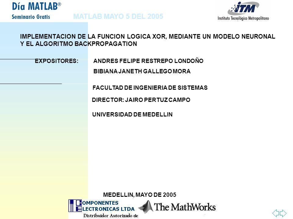 MATLAB MAYO 5 DEL 2005 IMPLEMENTACION DE LA FUNCION LOGICA XOR, MEDIANTE UN MODELO NEURONAL Y EL ALGORITMO BACKPROPAGATION.