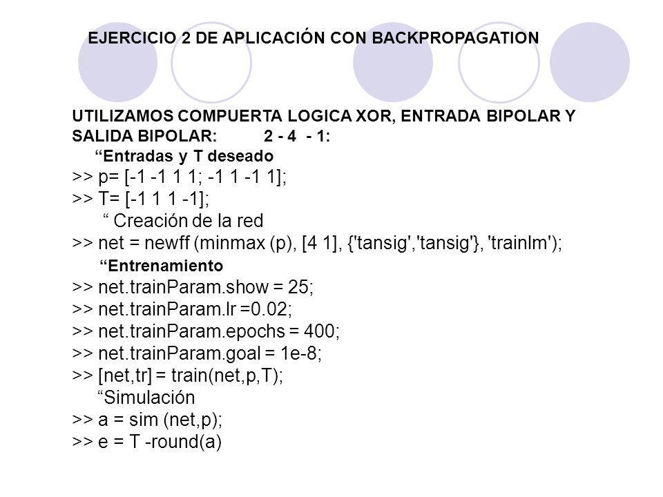 EJERCICIO 2 DE APLICACIÓN CON BACKPROPAGATION