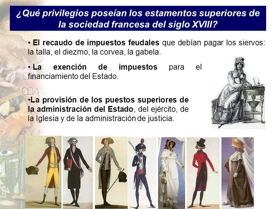 ¿Qué privilegios poseían los estamentos superiores de la sociedad francesa del siglo XVIII