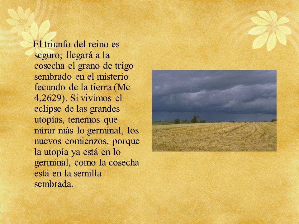 El triunfo del reino es seguro; llegará a la cosecha el grano de trigo sembrado en el misterio fecundo de la tierra (Mc 4,2629).