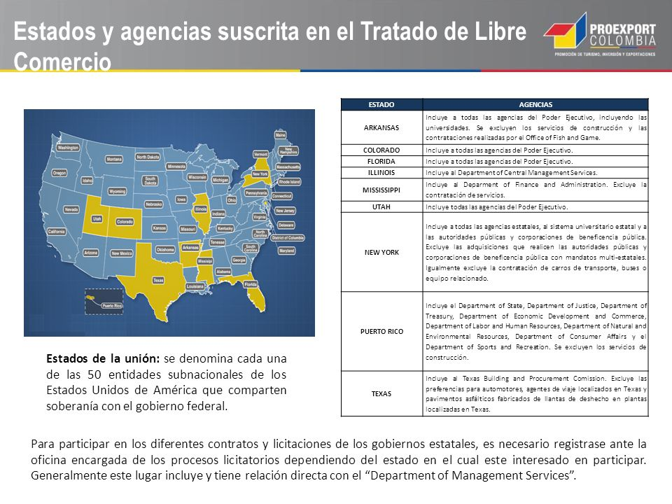 Estados y agencias suscrita en el Tratado de Libre Comercio