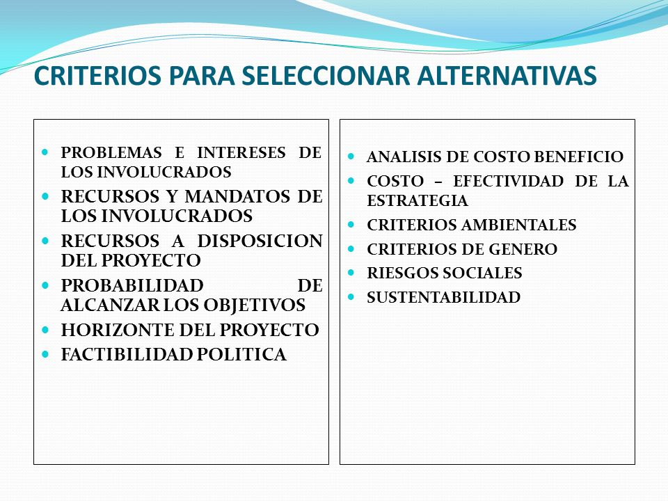 CRITERIOS PARA SELECCIONAR ALTERNATIVAS