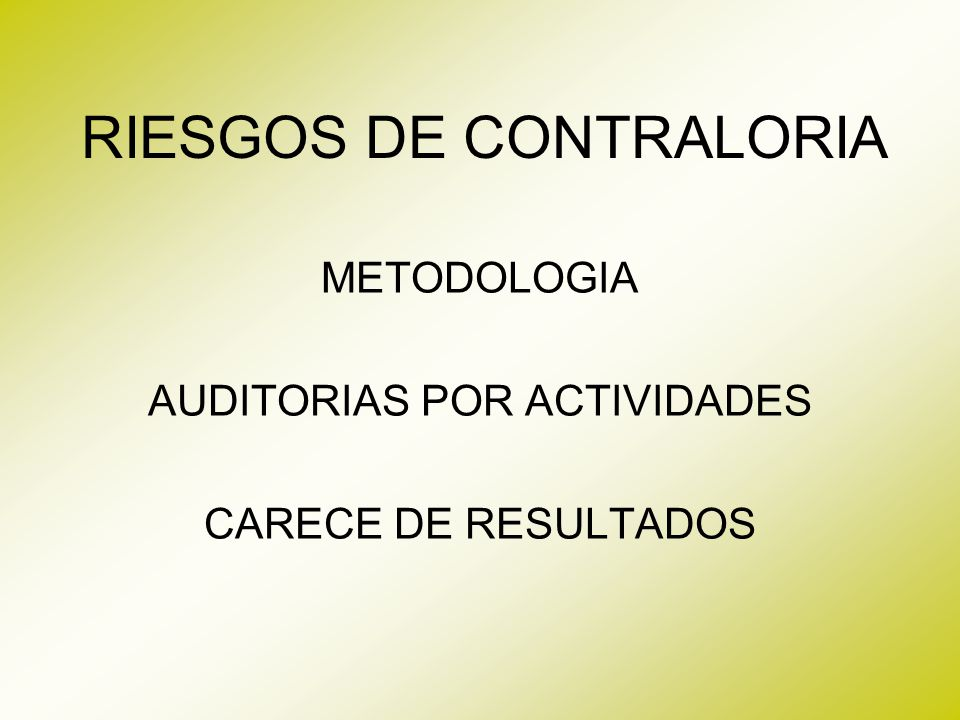 RIESGOS DE CONTRALORIA
