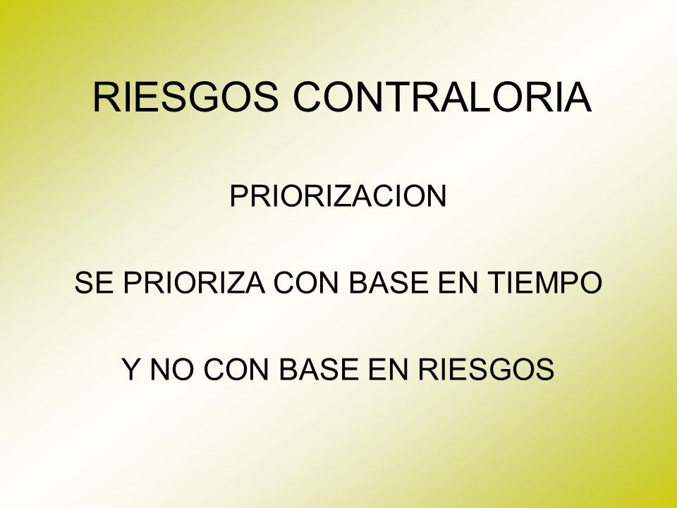 PRIORIZACION SE PRIORIZA CON BASE EN TIEMPO Y NO CON BASE EN RIESGOS