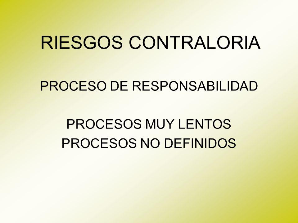 PROCESO DE RESPONSABILIDAD PROCESOS MUY LENTOS PROCESOS NO DEFINIDOS