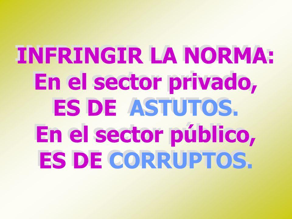 INFRINGIR LA NORMA: En el sector privado, ES DE ASTUTOS. En el sector público, ES DE CORRUPTOS.