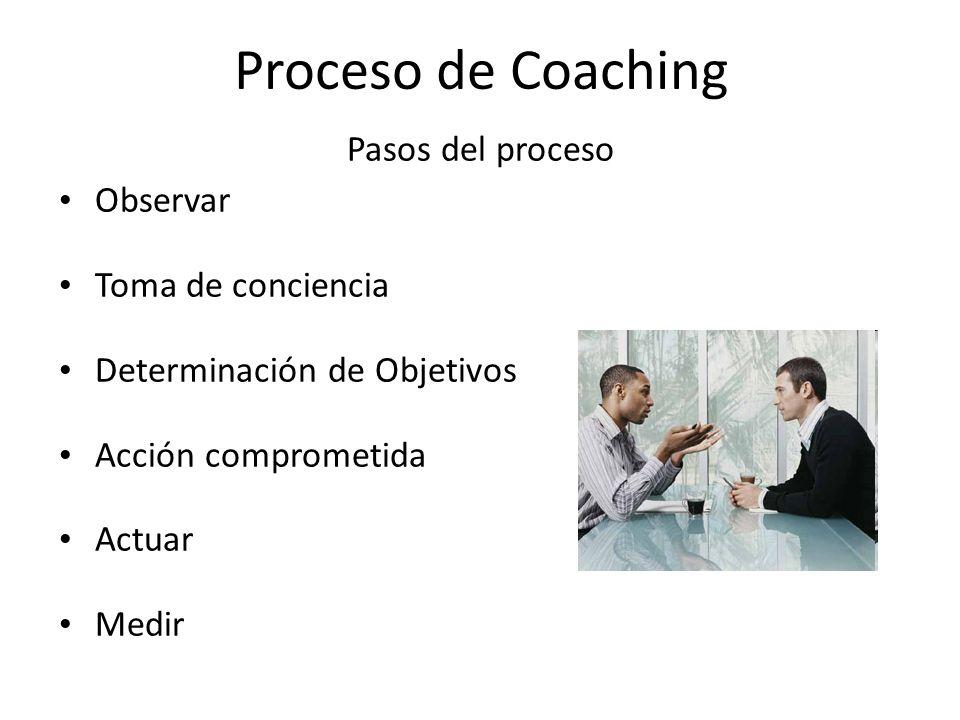 Proceso de Coaching Pasos del proceso Observar Toma de conciencia