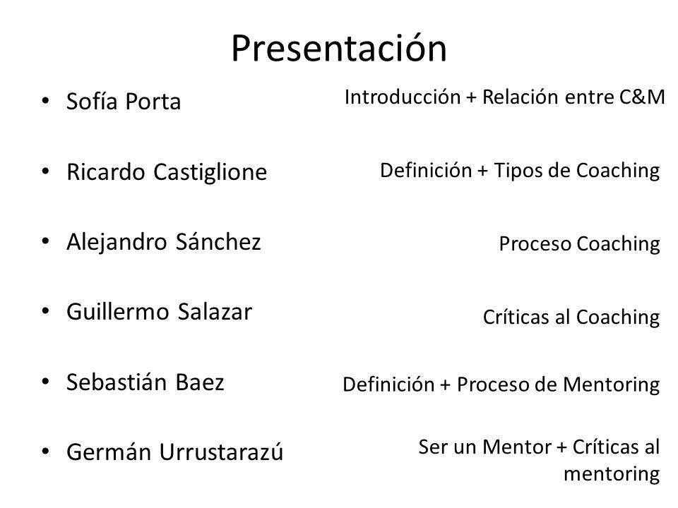 Presentación Sofía Porta Ricardo Castiglione Alejandro Sánchez