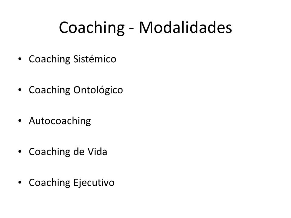 Coaching - Modalidades