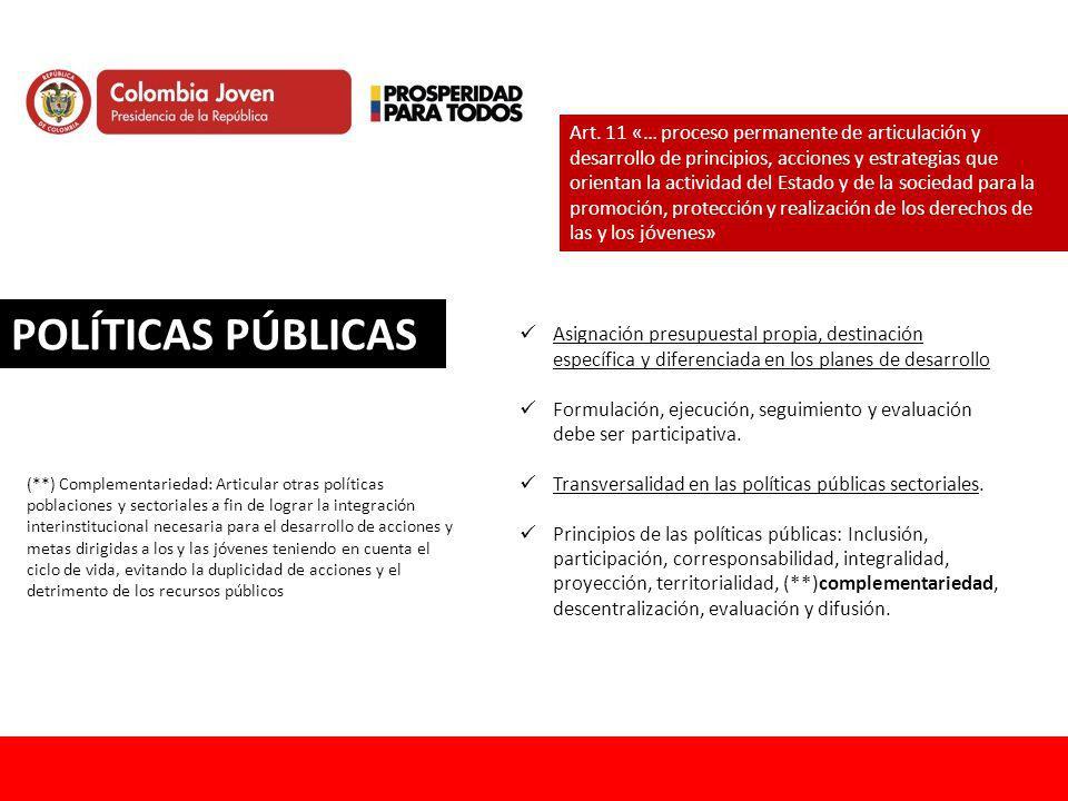 Art. 11 «… proceso permanente de articulación y desarrollo de principios, acciones y estrategias que orientan la actividad del Estado y de la sociedad para la promoción, protección y realización de los derechos de las y los jóvenes»