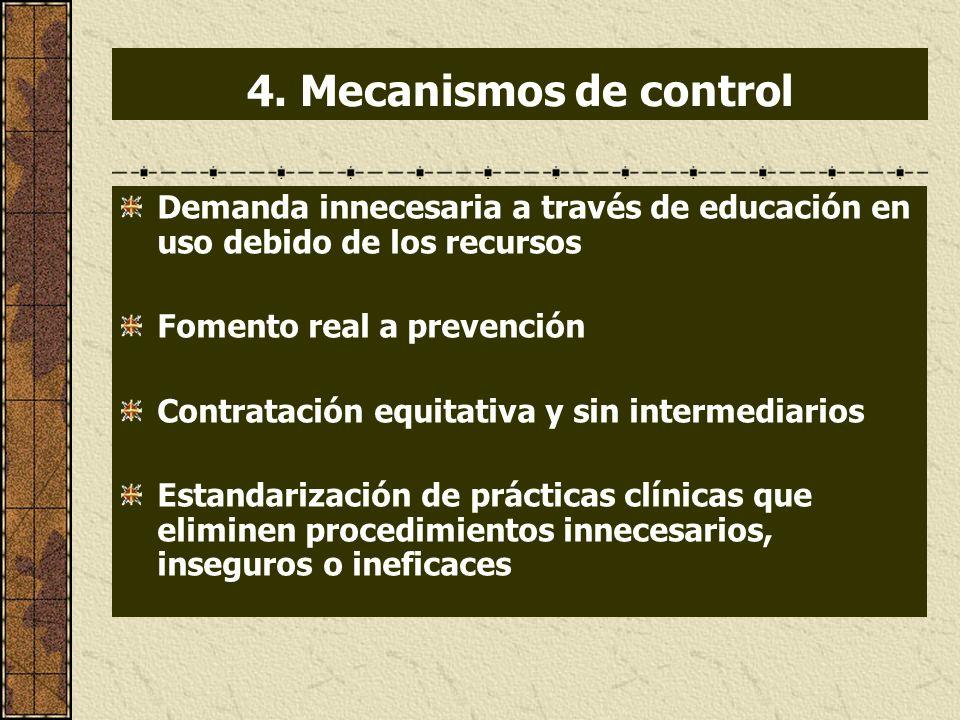 4. Mecanismos de control Demanda innecesaria a través de educación en uso debido de los recursos. Fomento real a prevención.
