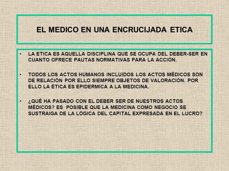 EL MEDICO EN UNA ENCRUCIJADA ETICA