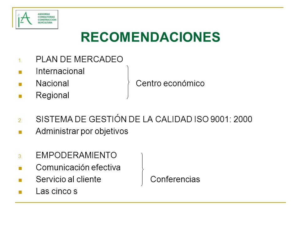 RECOMENDACIONES PLAN DE MERCADEO Internacional