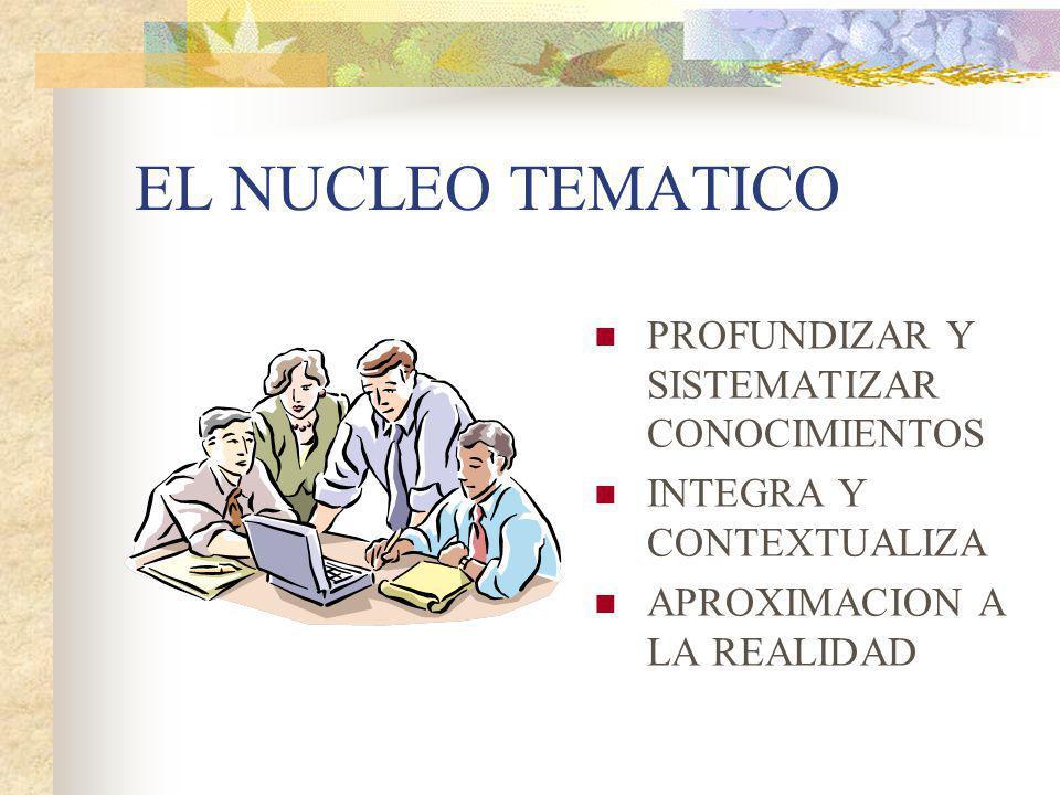 EL NUCLEO TEMATICO PROFUNDIZAR Y SISTEMATIZAR CONOCIMIENTOS