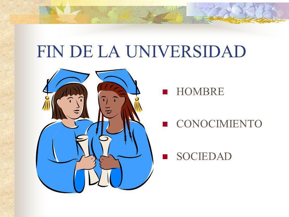 FIN DE LA UNIVERSIDAD HOMBRE CONOCIMIENTO SOCIEDAD