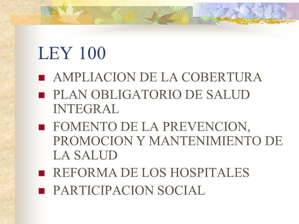 LEY 100 AMPLIACION DE LA COBERTURA PLAN OBLIGATORIO DE SALUD INTEGRAL
