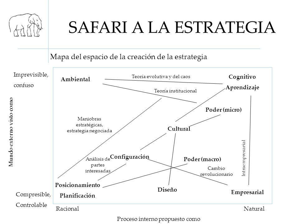 SAFARI A LA ESTRATEGIA Mapa del espacio de la creación de la estrategia. Imprevisible, confuso. Teoría evolutiva y del caos.