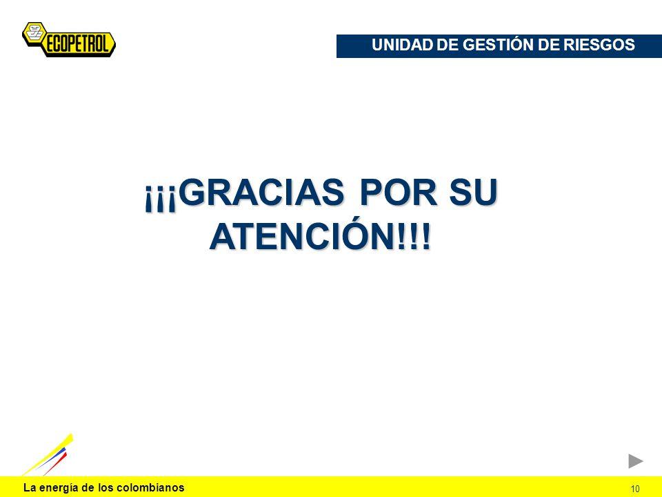 UNIDAD DE GESTIÓN DE RIESGOS ¡¡¡GRACIAS POR SU ATENCIÓN!!!
