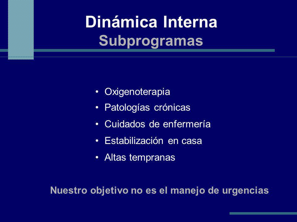 Dinámica Interna Subprogramas Oxigenoterapia Patologías crónicas