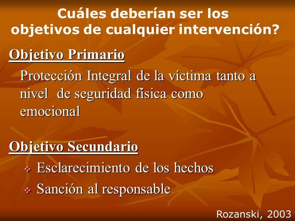 Cuáles deberían ser los objetivos de cualquier intervención