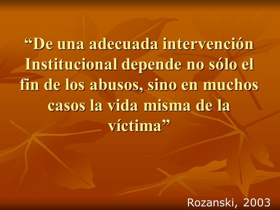 De una adecuada intervención Institucional depende no sólo el fin de los abusos, sino en muchos casos la vida misma de la víctima