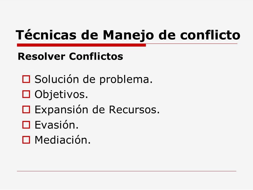 Técnicas de Manejo de conflicto