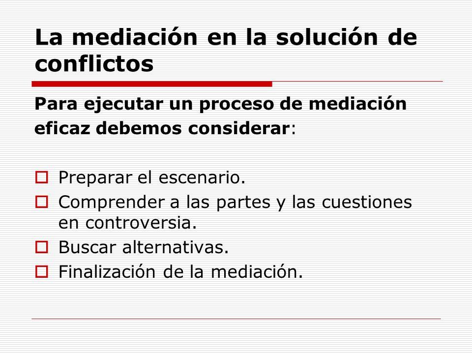La mediación en la solución de conflictos