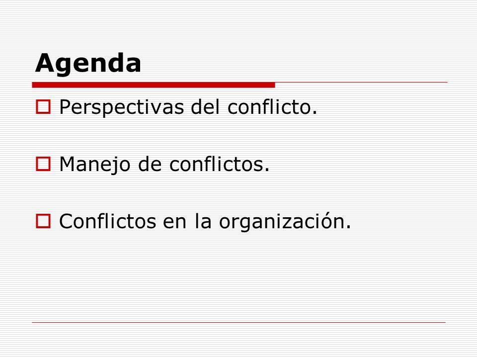 Agenda Perspectivas del conflicto. Manejo de conflictos.