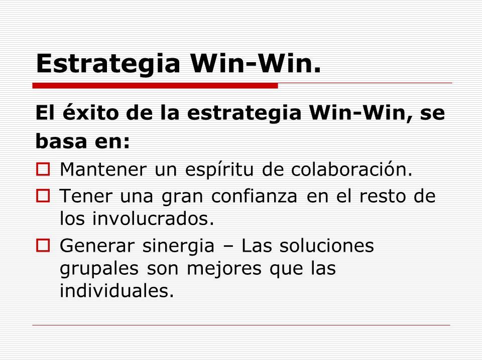 Estrategia Win-Win. El éxito de la estrategia Win-Win, se basa en: