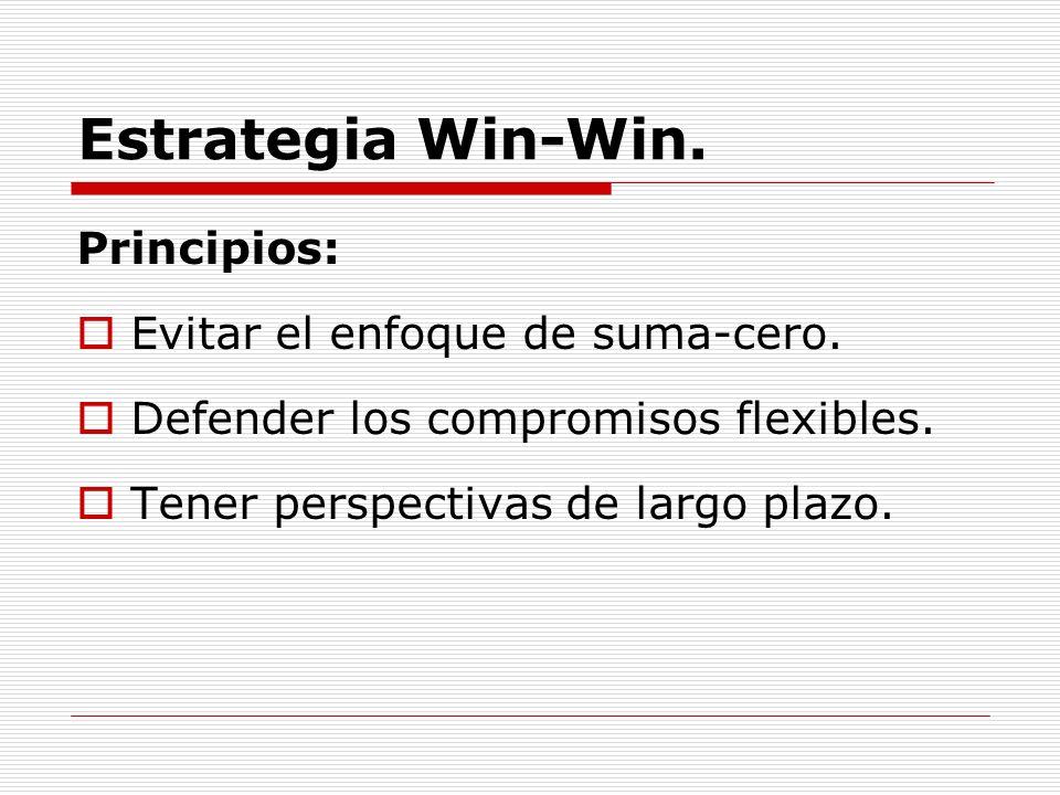 Estrategia Win-Win. Principios: Evitar el enfoque de suma-cero.