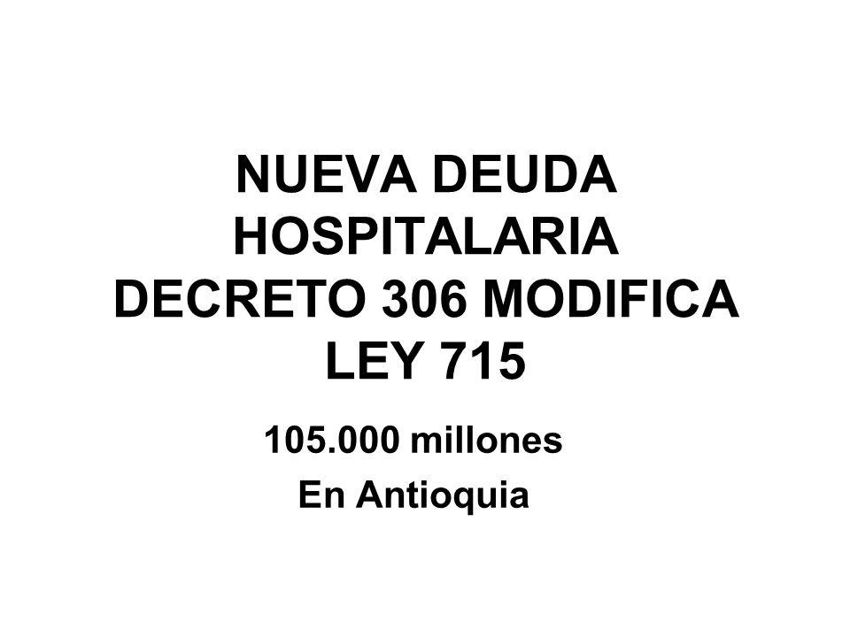 NUEVA DEUDA HOSPITALARIA DECRETO 306 MODIFICA LEY 715