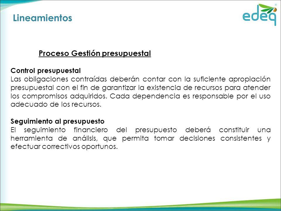 Lineamientos Proceso Gestión presupuestal Control presupuestal