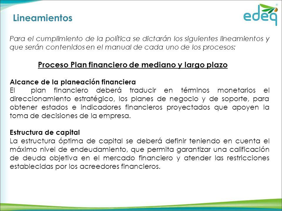 Lineamientos Proceso Plan financiero de mediano y largo plazo