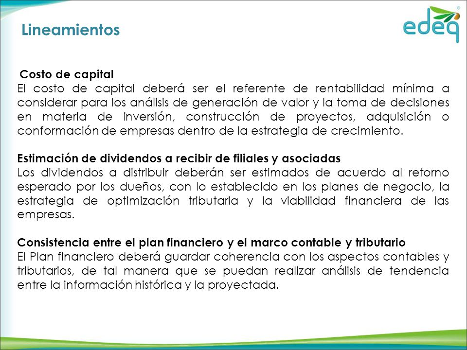 Lineamientos Costo de capital