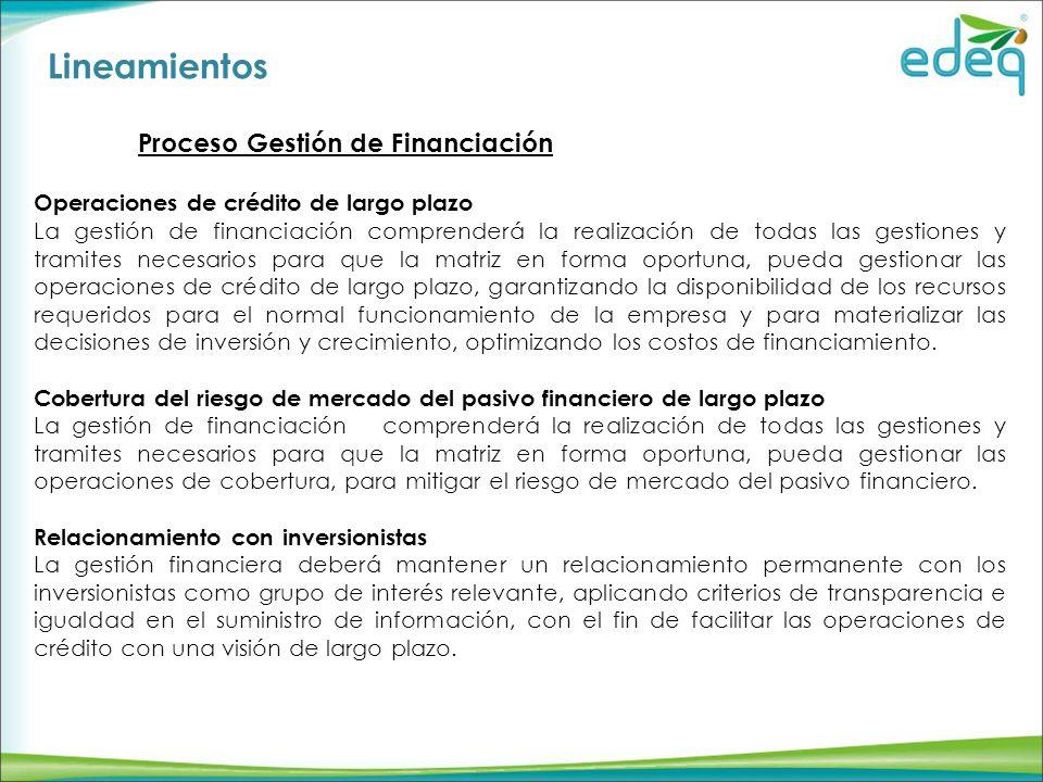 Lineamientos Proceso Gestión de Financiación