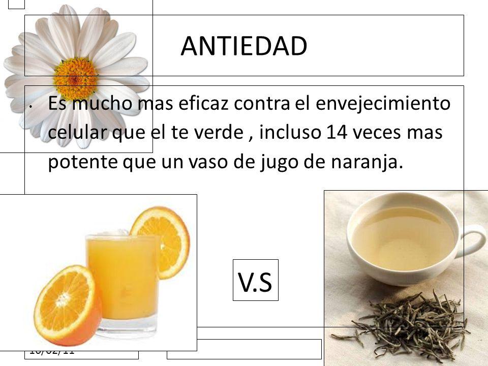 ANTIEDAD Es mucho mas eficaz contra el envejecimiento celular que el te verde , incluso 14 veces mas potente que un vaso de jugo de naranja.