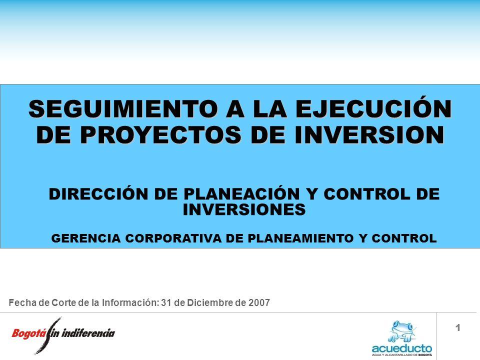 SEGUIMIENTO A LA EJECUCIÓN DE PROYECTOS DE INVERSION